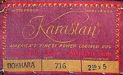 machine made rug label